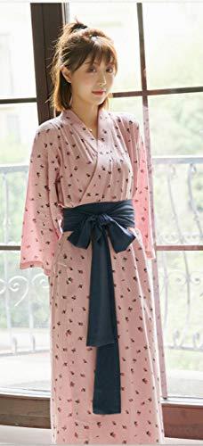 CDDKJDS Mujeres Kimono Pijamas Impresión Algodón Yukata Cardigan Bathrobes Casero Interior Casual Suelto Pijamas Dormir Ropa De Dormir Bata (Color : 3, Size : One Size)