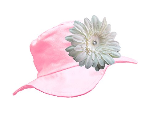 Jamie Rae Hats - Pale Pink Sun Hat with White Daisy, Size: 4-6Y