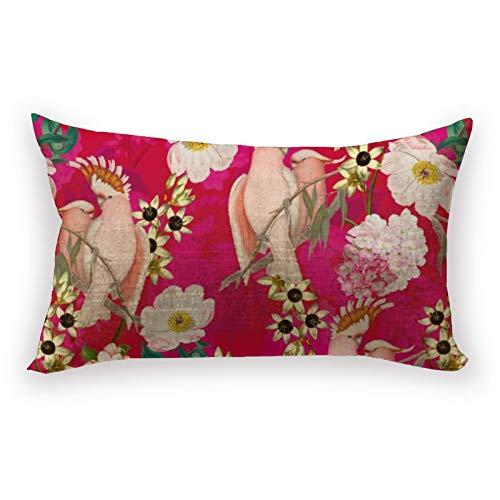 Hustor Redouté - Funda de almohada con diseño de flores tropicales y pájaros de lino y algodón, funda de almohada lumbar para sofá, cama, coche, 12 x 20 pulgadas