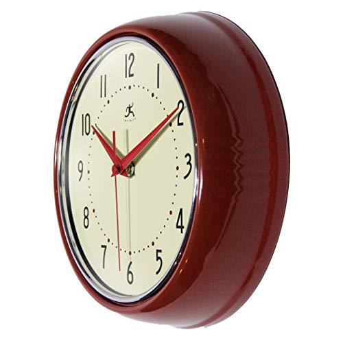 Retro 9 inch Silent Sweep Non-Ticking Mid Century Modern Kitchen Diner Wall Clock Quartz Movement Retro Wall Clock Decorative (Red)