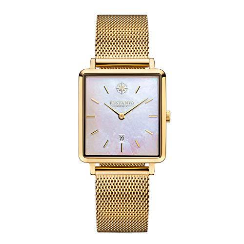Kistanio Carré GO-PM-M - Reloj de pulsera para mujer con correa milanesa y fecha, acero inoxidable chapado en oro, nácar y cristal de zafiro