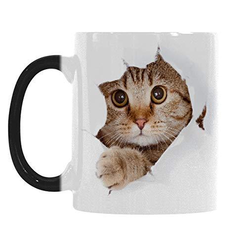 Wekity Magische Kaffeetasse Farbwechsel lustige Tasse, Katze Kaffee Tee Keramik Einzigartige wärmeempfindliche Tasse, Netter Weihnachten Geschenkbecher für Frauen Männer Kinder (Katze)
