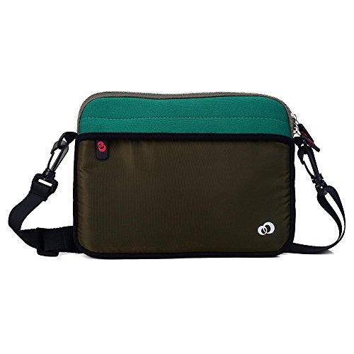 Kroo 27,9cm Neopren Convertible Sleeve für Tablet, Laptop, Hybrid mit Reißverschlusstasche vorne grün dunkelgrün
