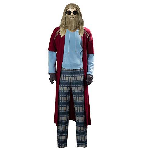 Aosida Fat Thor Disfraz de Halloween Suave Superhéroe Hombres Thor Cosplay Sudadera con Capucha Casual Pijamas Guantes Sudadera con Capucha Traje Pantalones Largos Chaqueta Abrigo Top Mujeres Adultas