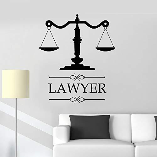 XCJX Anwaltskanzlei Zeichen Anwalt Anwaltskanzlei Vinyl Aufkleber personalisierte Aufkleber Firmenname Skala der Gerechtigkeit Fenster Dekoration 56x64cm
