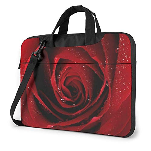 Bolso para portátil con Rosa roja, maletín a Prueba de Golpes para Hombres, Mujeres, Bolso de Mano para Tableta, para Viajes de Negocios, Oficina de 15,6 Pulgadas