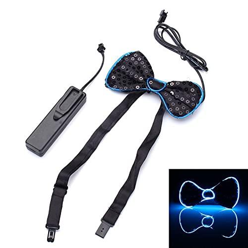 La batería LED se ilumina for arriba la corbata for hombre de la corbata de lazo for el banquete de boda de Halloween DC3V ILFYJRHD (Color : Color Blue)