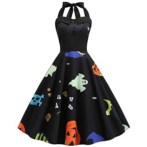 Hipeya Halloween Christmas Dresses Women's Vintage Long Sleeve Gothic Dresses Halter Sleeveless Corset Dress 50s Housewife Evening Party Prom Dress Black