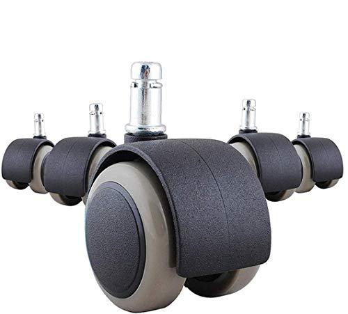KOAOYO kontorsstol hjul, set med 5 utbyteshjul av polyuretan 11 mm standardstorlek utbytesvridbara stolhjul, skydda din matta/hårt trä (inga repor/ljud)