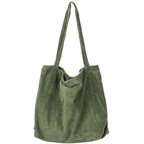 Etercycle Corduroy Tote Bag, Women Corduroy Shoulder Bag Big Capacity Casual Handbags for Women, Beautiful Shopping Tote Bag with Pocket (Army Green)