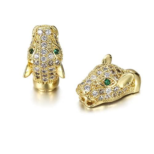 Caliente DIY creativo cabeza de leopardo cuatro colores pulsera separados perlas accesorios joyería hombres DIY pulsera accesorios-1 oro