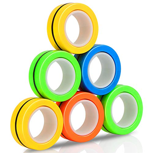 Ezgogo-Magnetic-Ring-Toys-Mini-Funny-Finger-Exerciser-for-Stress-Relief-Fidget-Novelty-Sensory-Spinner-for-Adults-and-Children-Relieve-ADHD-Anxiety-Rotating-Props-Bracelets6PCS