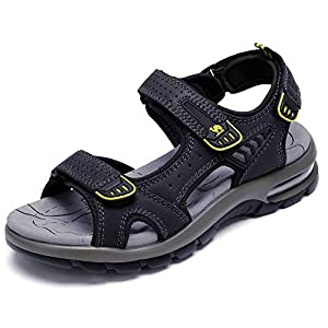 CAMEL Men's Sandals Genuine Leather Sport Open Toes Sandals Casual Elastic Beach Slippers for Summer