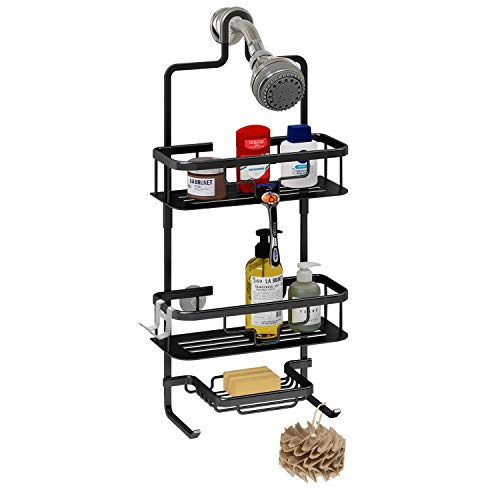 UDENIS Haning Shower Cadddy 3Tier Bathroom for ShampooConditionerSoapwith Hooks for RazorsTowelsHanging Head Caddy Organizer Aluminum Black