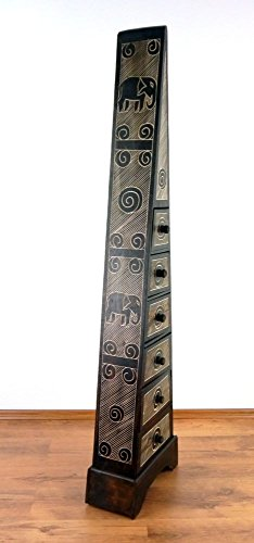 Große Schubladenkommode Pyramide, schmale Kommode, Badezimmerschrank, Nachtschrank, Schmuckschrank, Bali (Handarbeit) (braun-Elefanten)