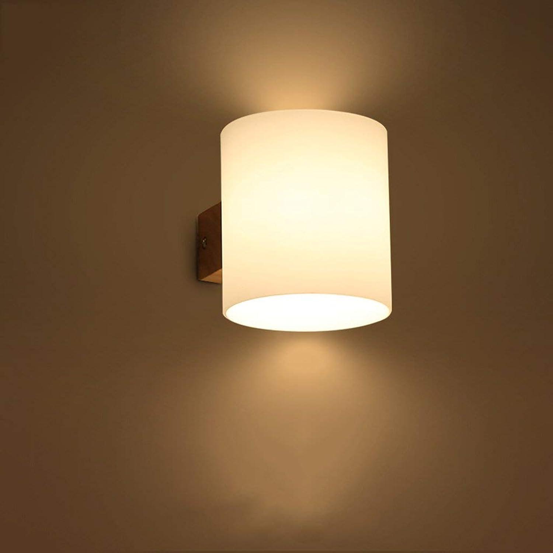 Led-Schlafzimmer Wand Lampe Nachttischlampe Massivholz Einzel- Und Doppelzimmer Kopf E 27 12  13 Cm, 30  13 Cm Kreative Holz- Kunst Glas Wohnzimmer Gang Balkon Lichter Wandabstand 12 Cm W