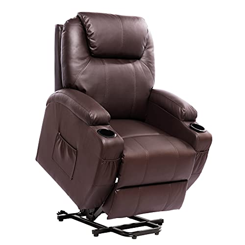 Living Room Power Lift Massage Recliner Chair for Elderly PU Leather Heated Recliner Ergonomic Lounge Vibratory Massage Function with Cup Holders Heating Remote Control