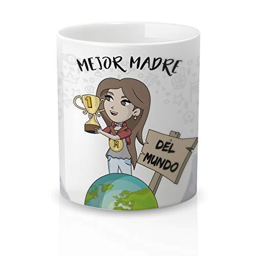 Yujuuu!   Taza cerámica Original Madre. Resistente 100% al microondas y lavavajillas. Taza con Mensaje Mejor Madre del Mundo