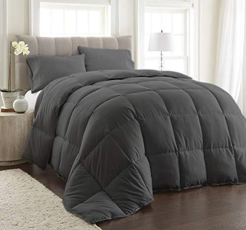 World Bedding Bedding 400 Thread Count 2 Piece Comforter Set Egyptian Cotton Corner Tabs Box Stitched Down (1 Comforter, 1 Bed Skirt) (California King, Dark Grey)