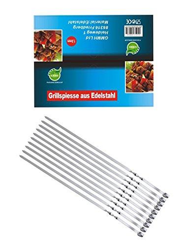 Grill Spieße Schaschlikschpieße Schampur aus Edelstahl Grillspieß Fleischspieße Kebab Grillzubehör für Mangal Grillbesteck (10 Stück 40 cm)