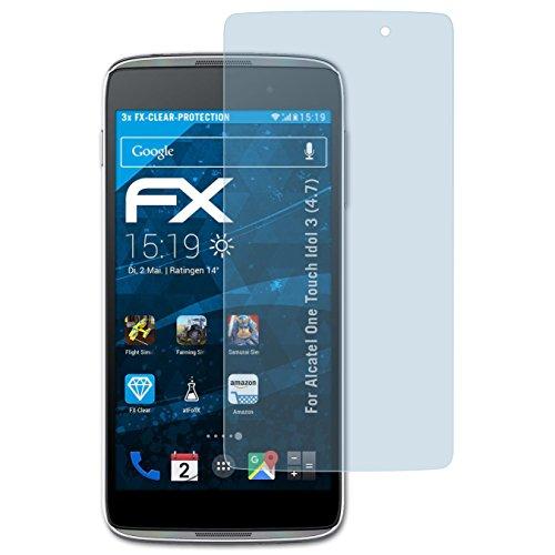 atFolix Schutzfolie kompatibel mit Alcatel One Touch Idol 3 (4.7) Folie, ultraklare FX Bildschirmschutzfolie (3X)