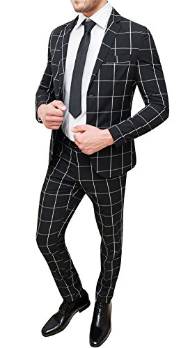 Abito Completo Uomo Sartoriale Nero Quadri Vestito Slim Fit Elegante (48)