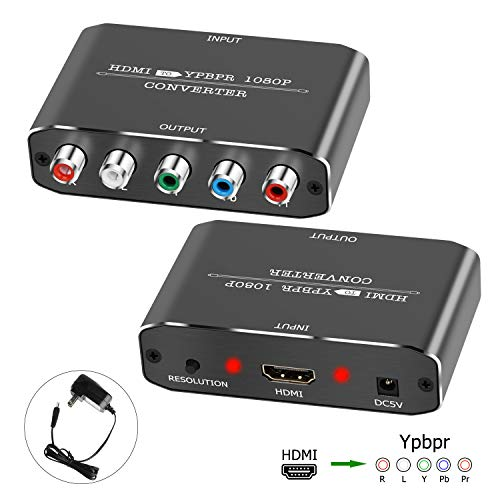 HDMI to Component Vedio Converter,Muosu HDMI to Ypbpr Scaler HDMI Input to Component Video + R/L Audio Output Converter Adapter Support 1080p for PS3,DVD(Aluminum)