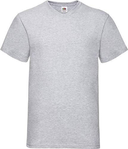 Fruit of the Loom Herren Valueweight V-Neck-Tee T-Shirt, Grau (Heather Grey 123), Large