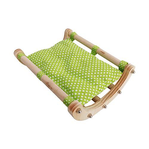 IHOMYIPET Meerschweinchen Bett Igel Haus Pad Kaninchen Bunny Bett Spielzeug Käfig Zubehör Stuhl Shaker aus Holz abnehmbaren Rahmen (Grün)