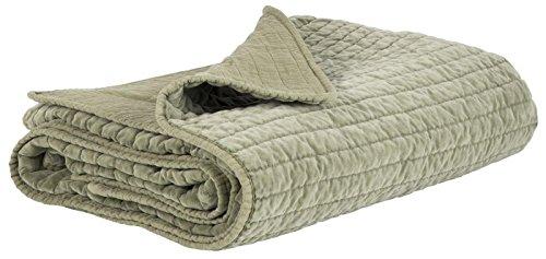 IB Laursen - Quilt, Tagesdecke, Decke, Kuscheldecke - Samt - Samtdecke - Farbe: Olive Grün - 100% Baumwolle - 180 x 130 cm