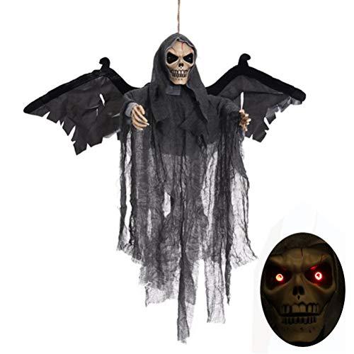 Sahgsa Halloween schreiender Geister Halloween Fledermausskelett deko schreiender Geister Dekoration hängende Skeleton Ghost für Karneval Halloween Party Dekoration von Tisch Haus und Garten