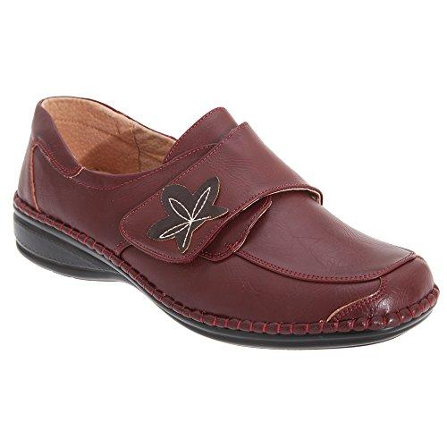 Boulevard - Zapatos Casuales de Ancho Especial con Cierre Adhesivo para Mujer (37 EU/Vino)