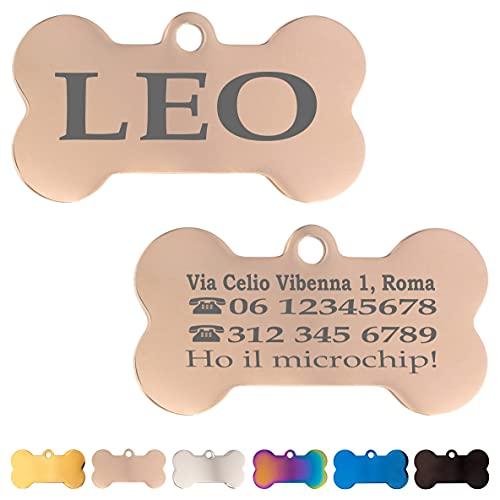 Iberiagifts - Zampa in Acciaio Targhetta Colori Medaglietta identificativa Personalizzata per Collare Cane Gatto Animale Domestico con incisione (Oro rosa)