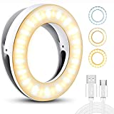 YBLNTEK Clip on Selfie Ring Light [Rechargeable Battery] with 40 LED for Smart Phone Camera Laptop Camera Photography Video Lighting Clip, Round Shape, White