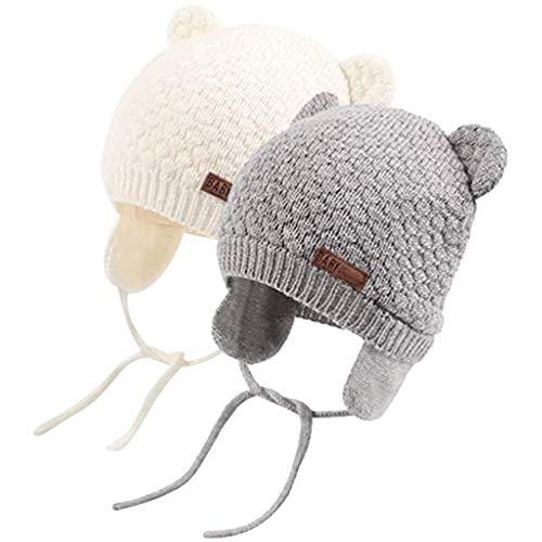 DRESHOW Unisex Baby Mütze Süßer Bär Kleinkind Earflap Beanie Warm für Herbst Wintermütze