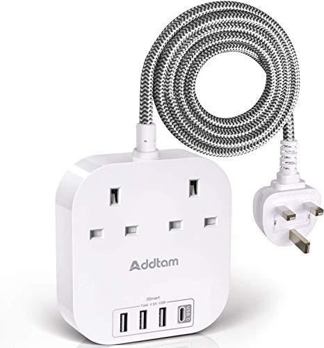 Förlängningssladd med USB C-portar, strömremsor med 2-vägs uttag 4 USB (4,5 A, 1 typ C och 3 USB-A port) överspänningsskyddsplugg förlängningsuttag med 1,8 meter flätad förlängningssladd för hemmakontor