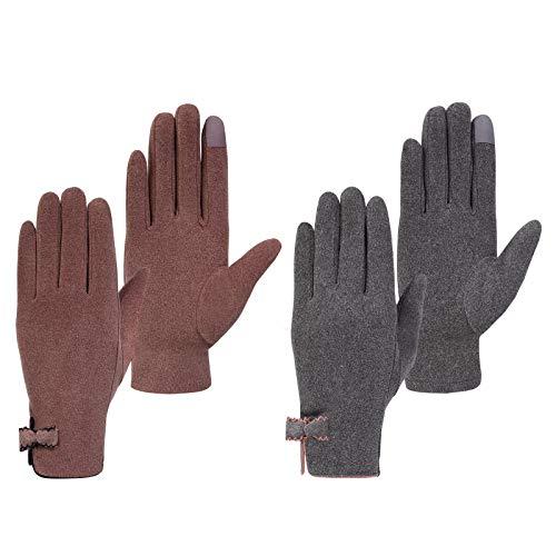 Damen Winter Handschuhe Touchscreen Erweiterte Eleganz Kalt Wetter Casual Gloves mit Bogen Volle Finger Winddicht für Party, Fahren, Reiten, Wandern, Reisen, Radfahren(2 Paare)