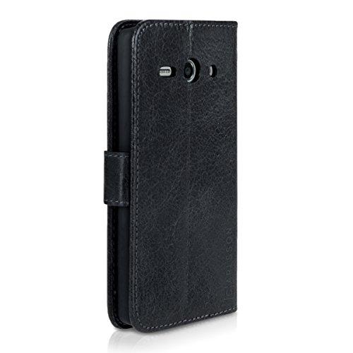 Carlsson Leder Case Hülle für Huawei Ascend Y530 - Wallet Flip Tasche aus Leder mit Standfunktion in Schwarz - 3