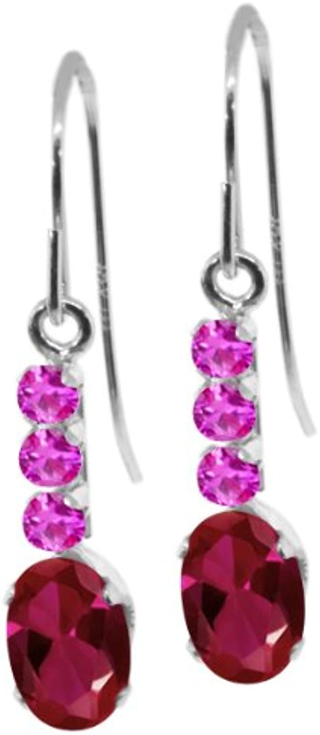 1.66 Ct Oval Red Created Ruby Pink Sapphire 10K White gold Earrings