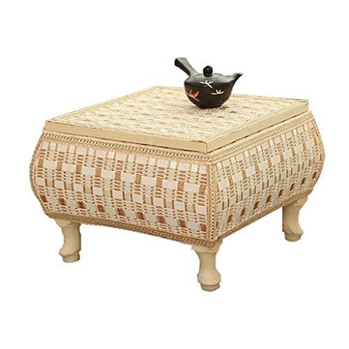 Tables Basse De Salon De Baie Vitrée en Rotin De Rangement Domestique Basse Basse De Tatami en Bois Massif Basses (Color : Brown, Size : 60 * 60 * 30cm)