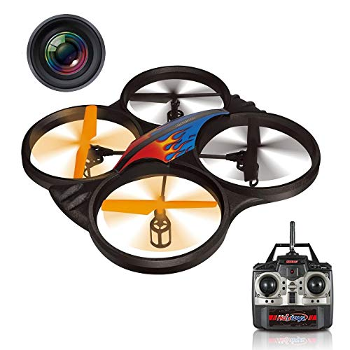 Haktoys HAK907C 2.4GHz 4-Channel 17' RC Video Camera Quadcopter, LED Lights, Lightweight & Crash-Resistant Foam Structure, Loop Function, Low-Battery Warning, Rechargeable, 6-Axis Gyroscope