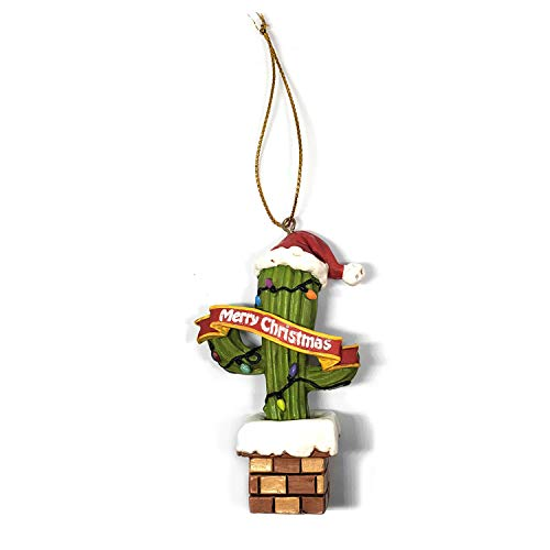 Cactus Christmas Tree with a Santa Hat Resin Christmas Ornament