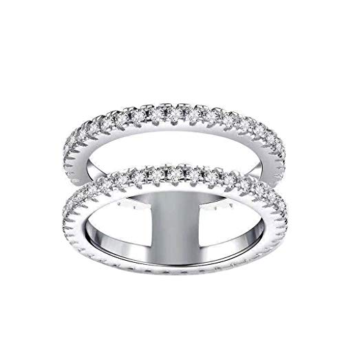 Balakie Simple Fashion Double Layer Ring Modern Rhinestone Rings Jewelry for Couple Women Girl(Silver,7)