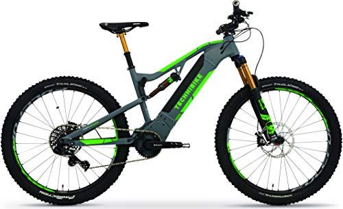 TechniBike VOTARO FS 27,5 Zoll E-Bike (Pedelec, Elektrofahrrad, Full Suspension Mountainbike, 600Wh Continental Akku, Continental 36V 250 Watt 90 Nm Motor, Rahmenhöhe 44 cm) anthrazit/grün