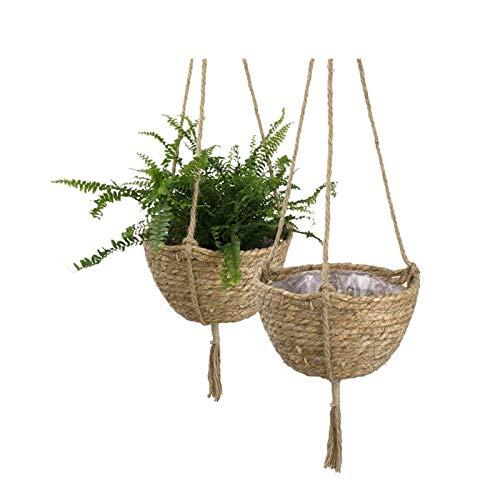 XLYYHZ 1HUIYANG-01020 - Juego de 2 cestas para colgar plantas hechas a mano