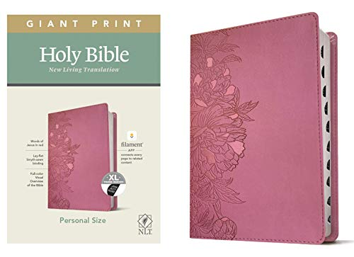 NLT Personal Size Giant Print Holy Bible (Red Letter, LeatherLike, Peony Pink, Indexed): Includes Free Access to the Filament Bible App Delivering Study Notes, Devotionals, Worship Music, and Video