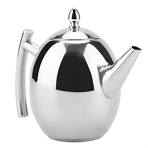 Tetera con infusor, tetera de acero inoxidable, té, café, hervidor de agua, recipiente con filtro de malla extraíble para hotel de oficina en casa(1500ML)