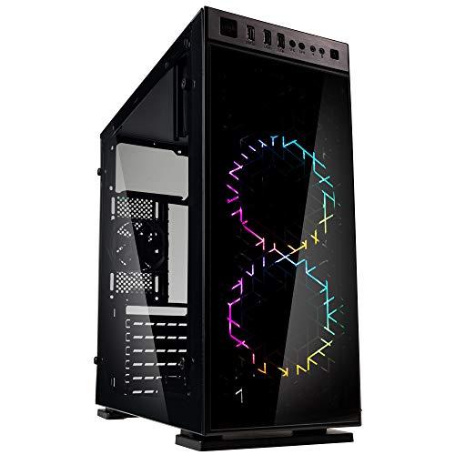KOLINK Inspire K1 RGB Midi-Tower, Tempered Glass Computergehäuse, PC Hülle, PC Gehäuse RGB Glas, Gaming PC Case, Computer Gehäuse, Schwarz