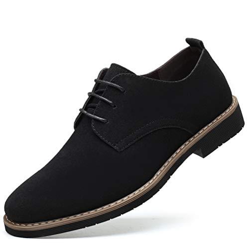[Poerkan] スエードシューズ メンズ カジュアルシューズ 本革 革靴 スウェード ビジネスシューズ 紳士靴 プレーントゥ レースアップ 通勤 ブラック 28.5cm