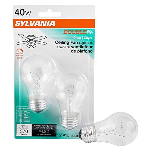 SYLVANIA Home Lighting 10034 incandescent Bulb, Double Life, 40W, A15 Incandescent, 2 Piece